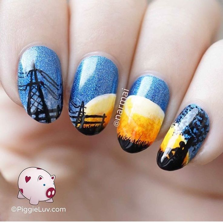 Cool moon silhouette nails