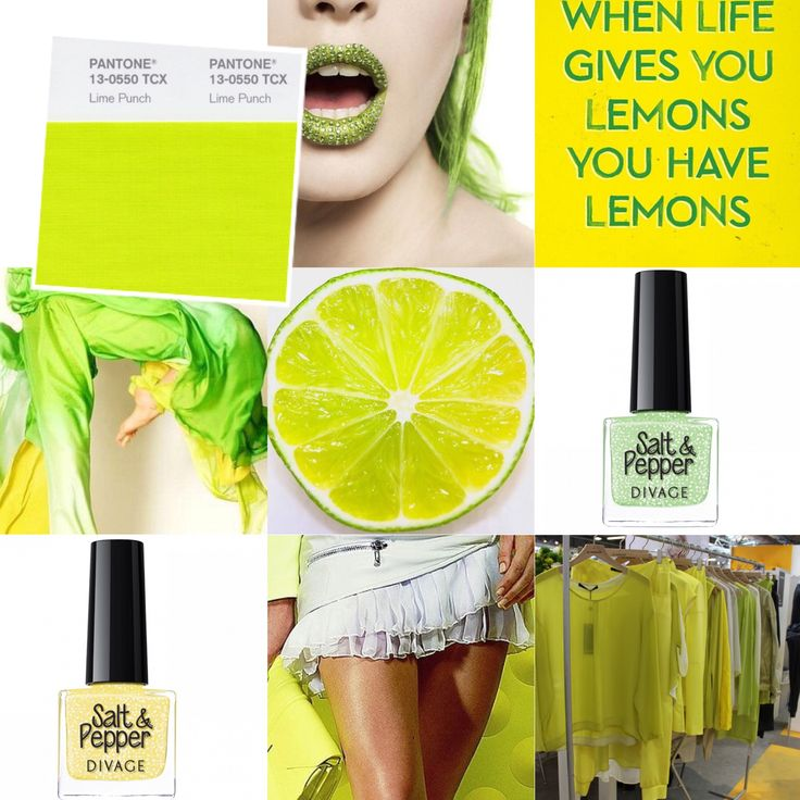 """#coloroftheweek  Pantone 13-0550 TCX Lime Punch: letteralmente """"Pugno di Lime"""". Fatevi colpire in pieno da questo giallo elettronico brillante, a metà tra il giallo e il verde chartreuse, chiamato così proprio per la sua somiglianza con il frutto. Perfetto per make up allegri e originali e splendido sulle carnagioni olivastre."""