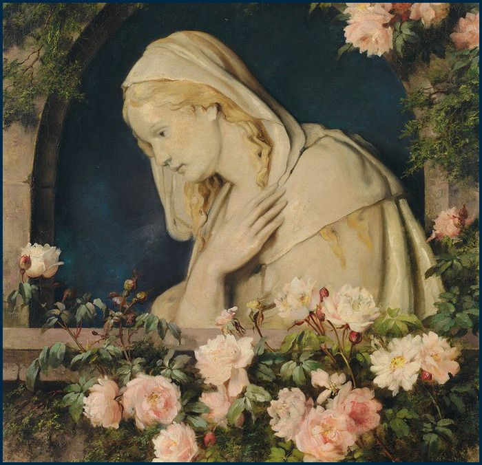 Madonna under pointed arches in a rose arbor, Luise Max-Ehrler. (1850 - 1920)
