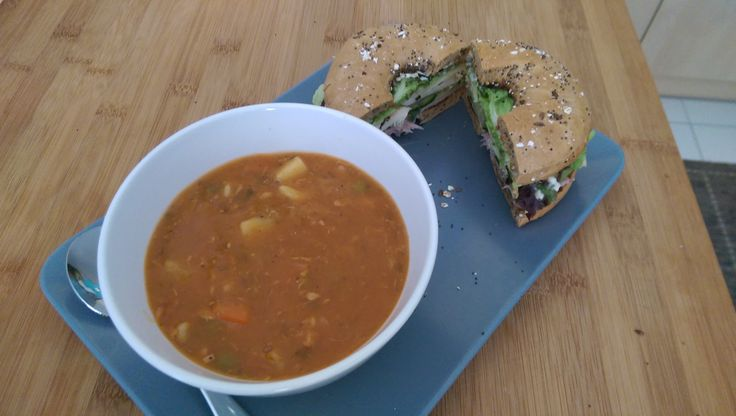 Multigrain Bagel with Mayo Chicken Breast Breaded Ham Cheese Cucumber and Lettuce and a bowl of Chunky Chicken and Vegetable Soup #sandwiches #food #lunch #love #salads #recipe #breakfast #coffee #foodie #foodporn