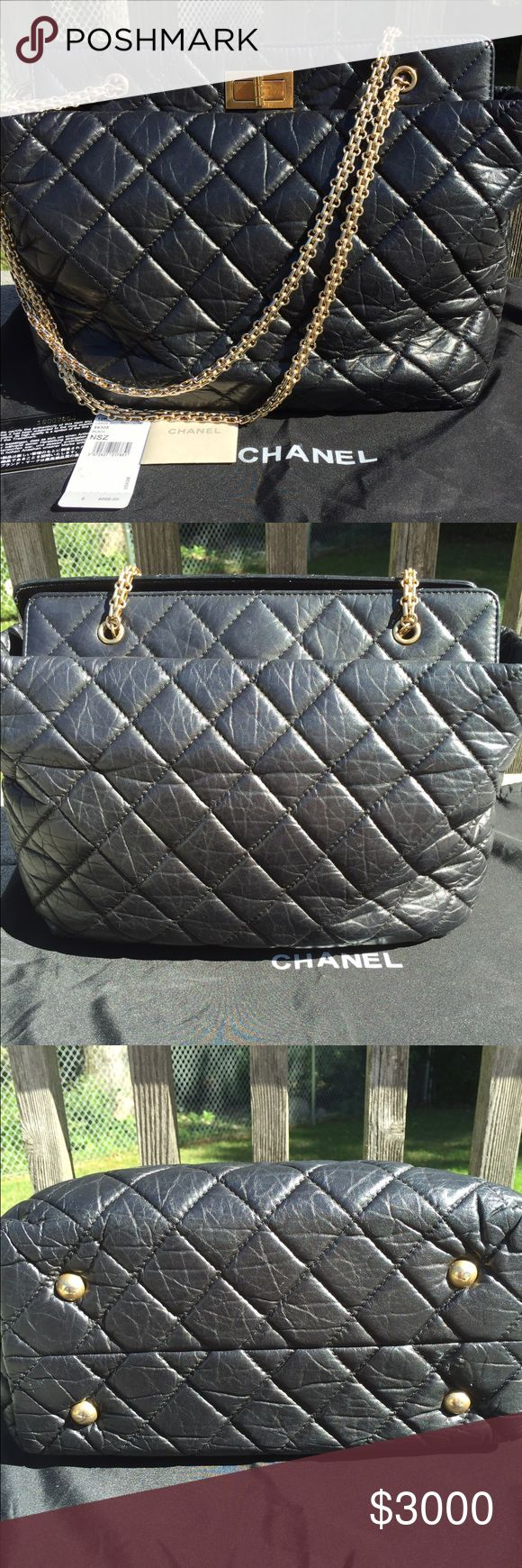 """Chanel Large Shopping <30 cm 100% Authentic Chanel bag . Only a few years old and in amazing condition. The hardware could use some shinning  and there are a few spots that a professional cleaner could probably get out. The mark on the bottom feels like a sticker was there and I was trying to get it off but am afraid I might make a mark in the leather. One mark on inside that looks like possibly lipstick. More pictures in listing # 2   The height is 11""""  across is 14""""  the gold strap drop is…"""