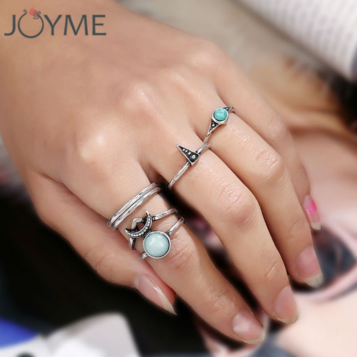 Joyme vintage jewelry wholesale new design lots rings set antique silver turquoise random size moon and star rings for women