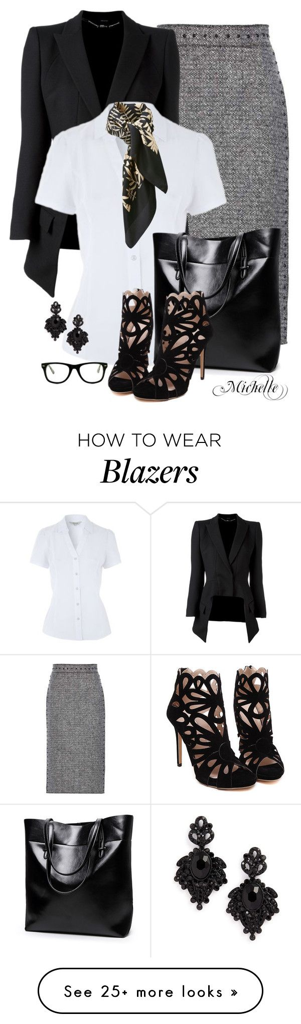 """Pencil Me In"" by michellesherrill on Polyvore featuring Valentino, Alexander McQueen, Tasha, Uniqlo and Muse"