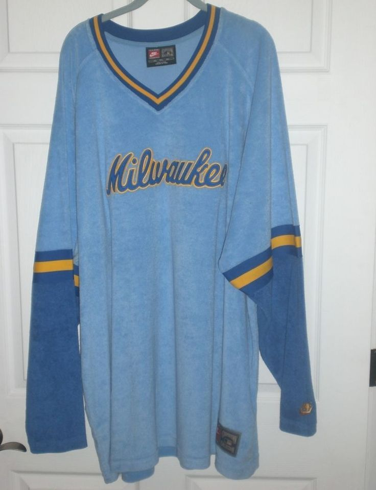 Nike Milwaukee Brewers Jersey 4XL VELOUR Sewn Cooperstown Collection Throwback #Nike #MilwaukeeBrewers