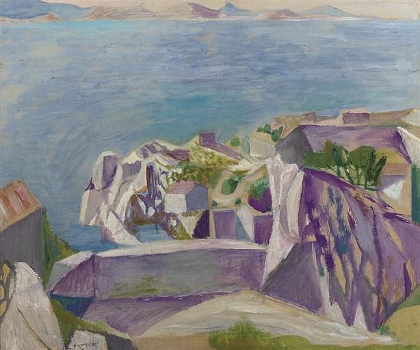 Nicolaas Wijnberg (Dutch, 1918-2006), Mediterranean coastal scene, 1947. Oil on paper laid down on plywood, 51 x 60 cm