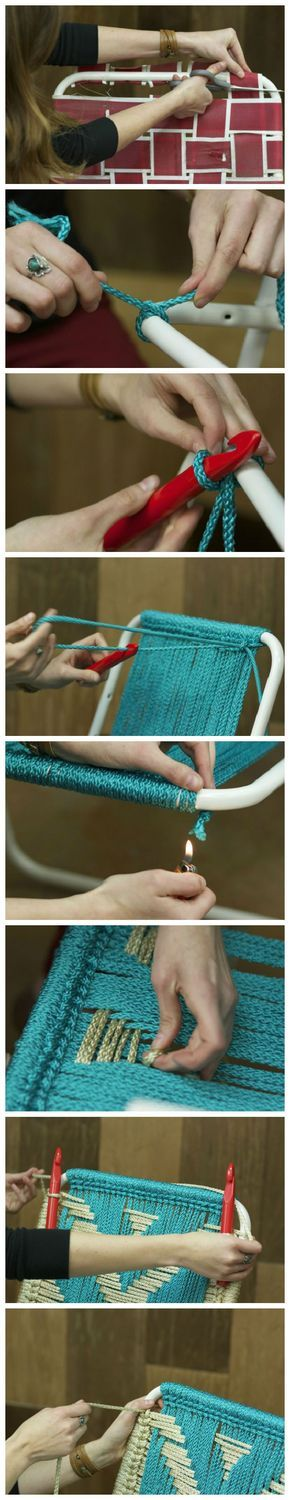 DIY Macrame Lawn Chair   Crafts and Craft Project Ideas   Simple Craft Projects using Recycled Materials at pioneersettler.com