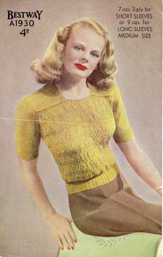 PDF File Vintage Ladies Jumper Knitting by NostalgiaPatterns, £1.49