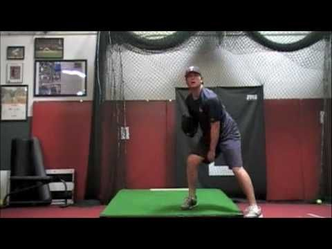 """Senior LHP from Tesoro High School, Mission Viejo, CA. 6'3"""", 210 lbs, Tim Dunn gets some pitching practice in at RedLine."""
