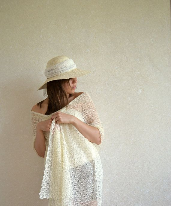 Ivory Linen Scarf Ivory Wedding Scarf Bridal Shawl Linen Wrap Lace Stole Light…