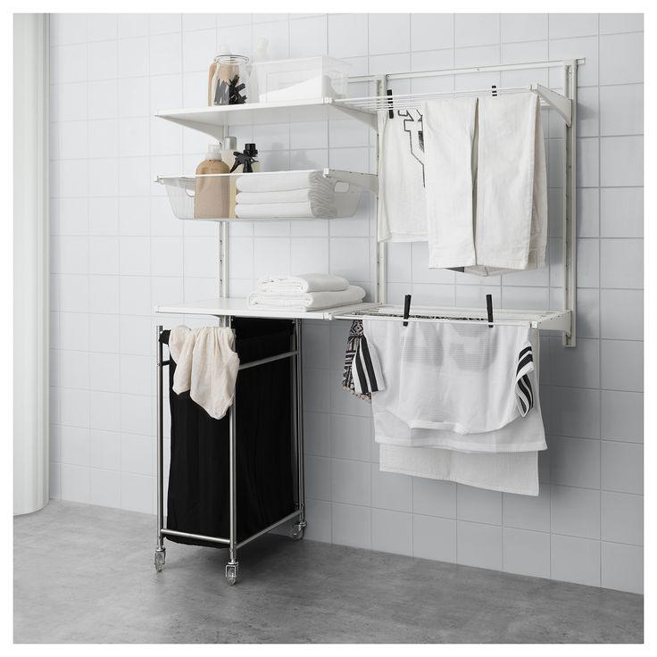 IKEA - ALGOT, Wall upright/shelves/drying rack, You click the brackets into the ALGOT wall uprights wherever you want to have a shelf or accessory – no tools needed.Can also be used in bathrooms and other damp indoor areas.The parts in the ALGOT series can be combined in many different ways and easily adapted to your needs and space.