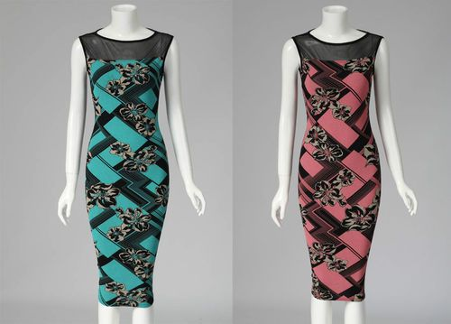 New Womens Sexy Floral Print Celebrity Style Party Mesh Bodycon Long Midi Dress