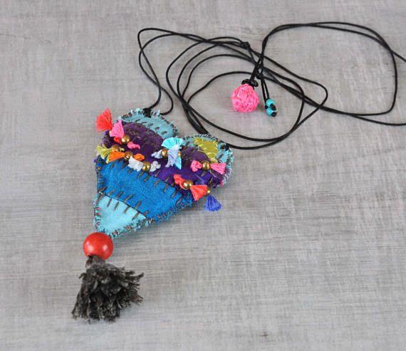 Patchwork gypsy necklace  Eco Friendly Necklace  Hippie
