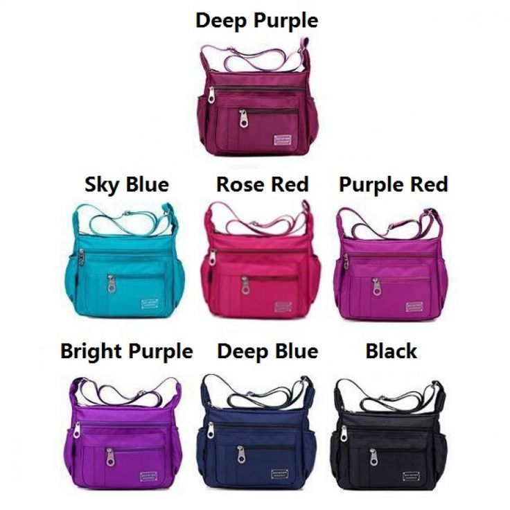 Fashionable Women Nylon Waterproof Bag Casual Outdoor Sports Single-shoulder Bag Crossbody Bag Dark Blue