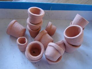 Macetas modeladas con pasta de secado al aire - My little little dream: Глиняные горшки. Сlay pots.