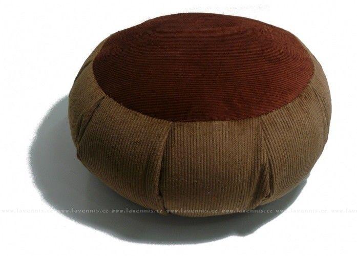 Manšestrový sedací polštář hnědý