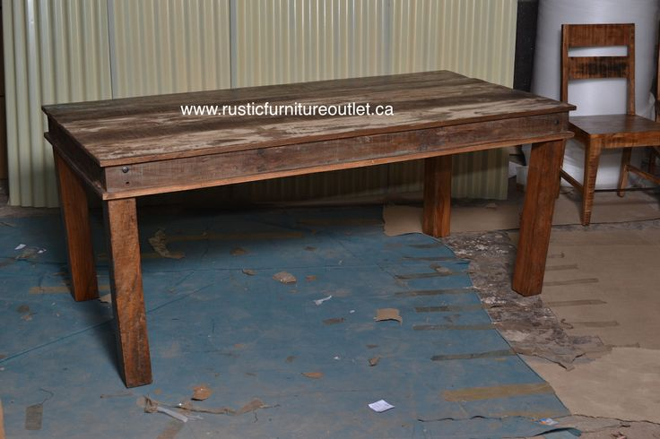 Crafted from recycled wood solids in a multi-colored hand-painted finish ensuring bonafide originality, this kitchen table offers the faded colors of an heirloom as well as an alluring rustic charm.  http://www.rusticfurnitureoutlet.ca/recycledwoodfurn.html