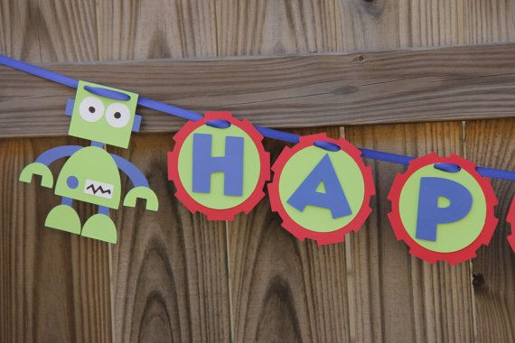 Robot Birthday Banner by LindseysPartyPantry on Etsy, $22.00
