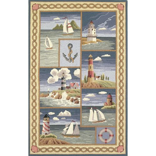 KAS Oriental Rugs Colonial Coastal Views Nautical Novelty Rug | Wayfair
