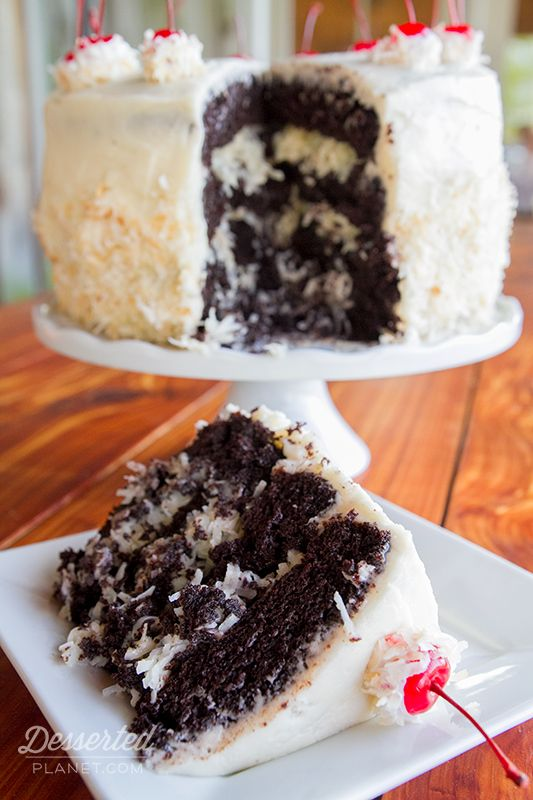 Coconut Rum Dark Devil's Food Layer Cake.  Like a Mounds bar in cake form, soooooo good!!!  |  DessertedPlanet.com
