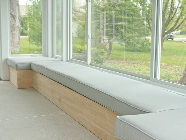 First things first: Ken and I started at the drawing board with a billion different design ideas, and after a few hours, we settled on a long bench solution that would run the length of the windows, yet jut out ...