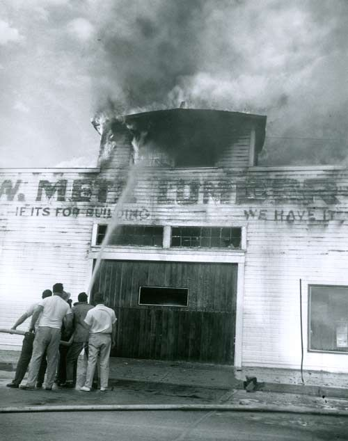 On a lovely, clear day, May 14, 1960, a massive plume of black smoke arose from the center of Arvada - the Metz Lumber Company was ablaze!  The smoke could be seen throughout the Denver Metro area and drew huge crowds of onlookers. The Arvada Volunteer Fire Department was on the scene in about one minute.  The volunteer firemen had been training during the day, and were just sitting down to dinner at the fire house when they received the call.  The fire station was just a few blocks from…