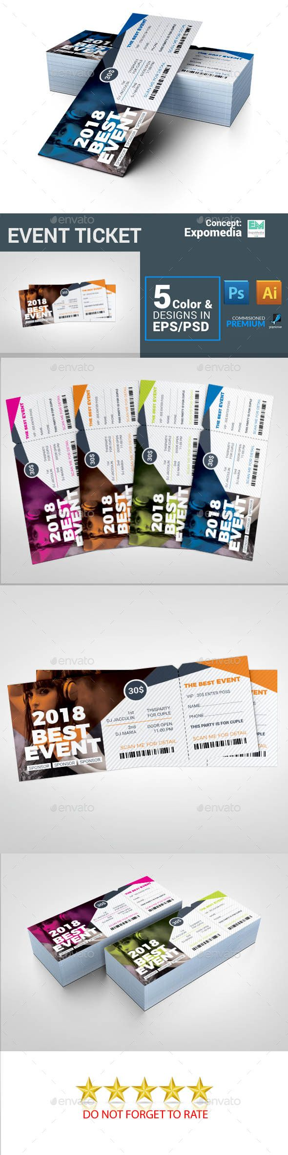 #Event #Ticket - Cards & Invites Print Templates
