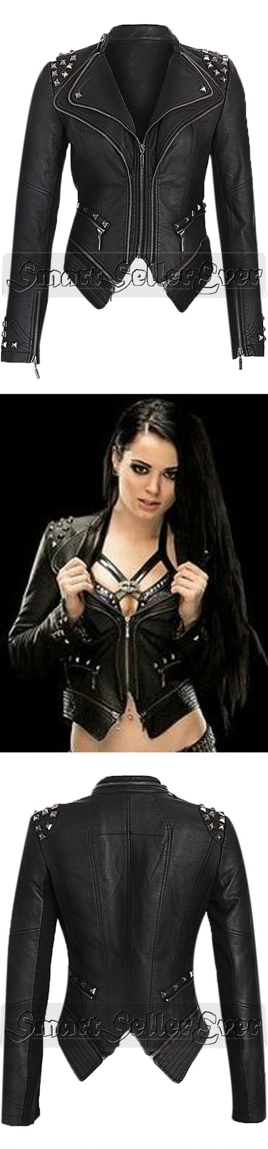 "For Fan's Professional Wrestler and Actress Saraya-Jade Bevis ""PAIGE"". Smart Seller Created WWE Diva Paige NXT Black Leather Studded Biker Women Jacket. Made from 100% Real Leather You can Wear This Impressive Women's Jacket in All Season, Available at Our Online Store.  #sarayajadebevis #wrestler #paige #girls #girlsfashion #girlsjacket #womenfashion #hot #sexy #fashion #beautiful #wear #femalejackets #awesome #shopping #parties #clubs #nights #season #bikers #riding #stylish"