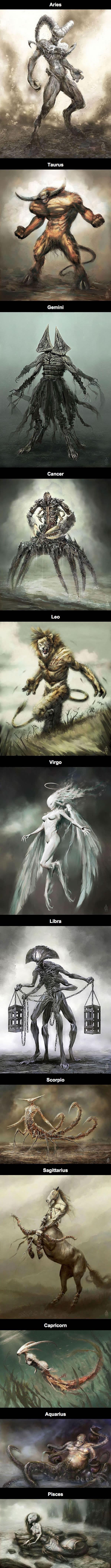 Awesome Zodiac drawings (By Damon Hellandbrand)