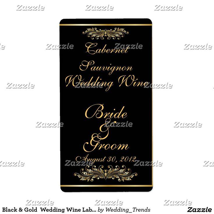 Black White Modern Circle Posh Wedding Wine Label | Wine / Champagne ...