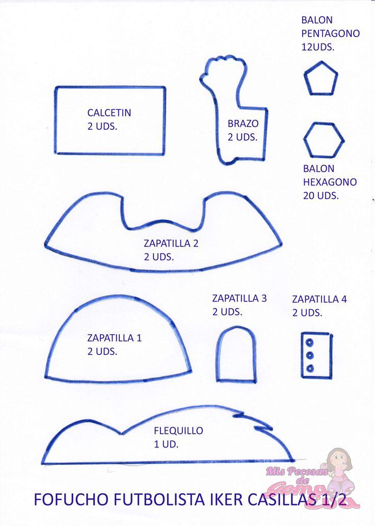 Moldes de Fofucho Futbolista Iker Casillas. En la entrada de mi blog: http://mispecosasdegomaeva.blogspot.com.es/2014/04/fofucho-futbolista-iker-casillas-moldes.html
