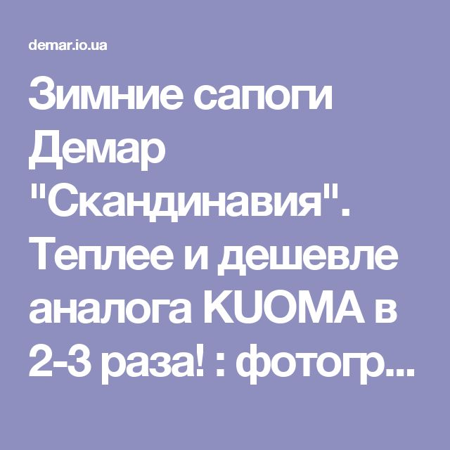 "Зимние сапоги Демар ""Скандинавия"". Теплее и дешевле аналога KUOMA в 2-3 раза! : фотографии Детские товары"