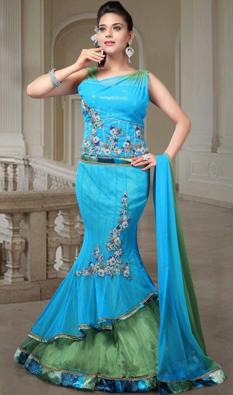 Blue dress velvet in fish