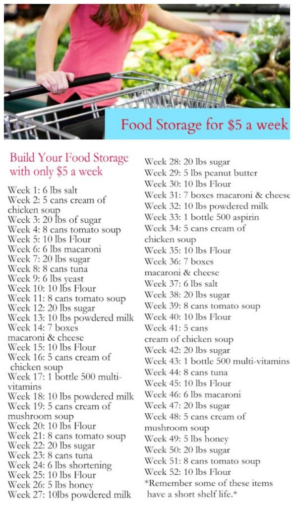 Build your food storage for $5 per week + a free printable list