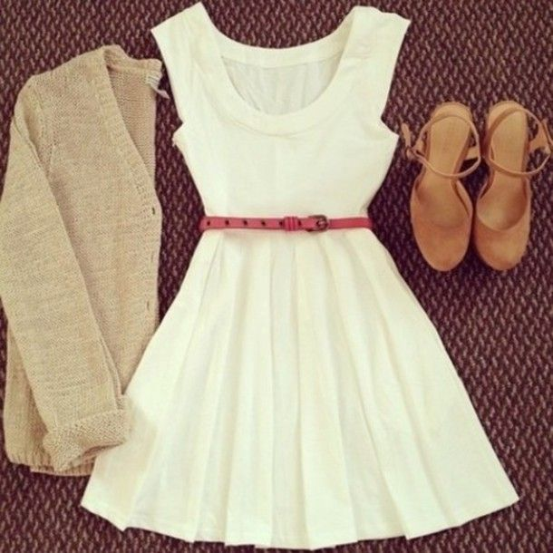 Country Chic Clothing for Party | belt ivory dress pink belt suede shoes white shoes country style ...