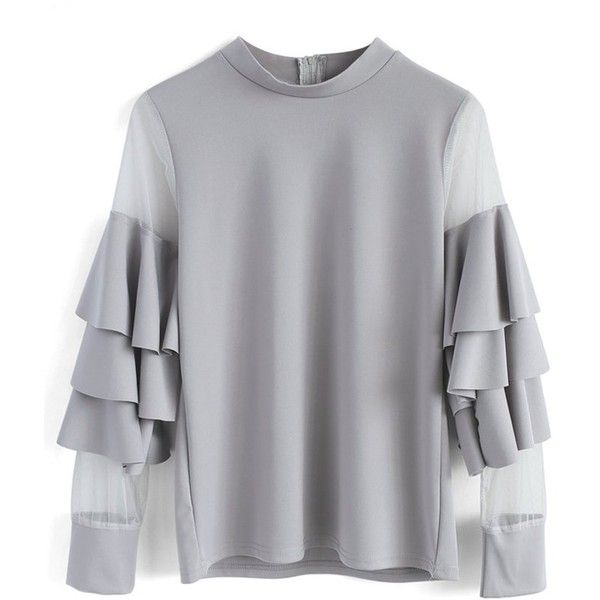 Chicwish Pure Pleasure Smock Top with Tiered Flare Sleeves in Grey ($53) ❤ liked on Polyvore featuring tops, blouses, grey, tiered blouse, smocked top, sheer mesh top, grey top and bell sleeve tops