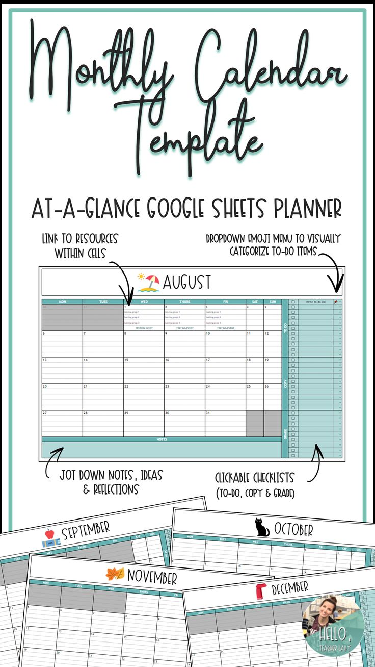 Digital Planner Editable Monthly Calendar for Google