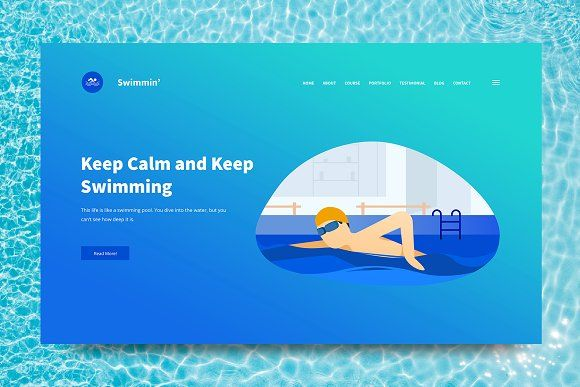 Swimming Web Header Psd Vector By Giantdesign On Creativemarket