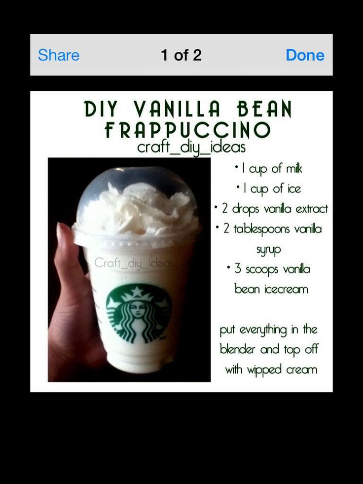 DIY vanilla bean frap from Starbucks. Oh and you can add a squirt of raspberry to make a Cotten candy frap