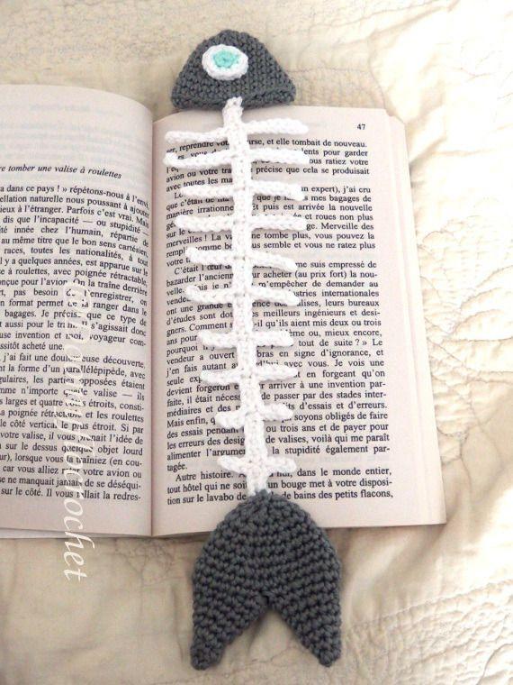 Marque-pages Poisson en coton au crochet
