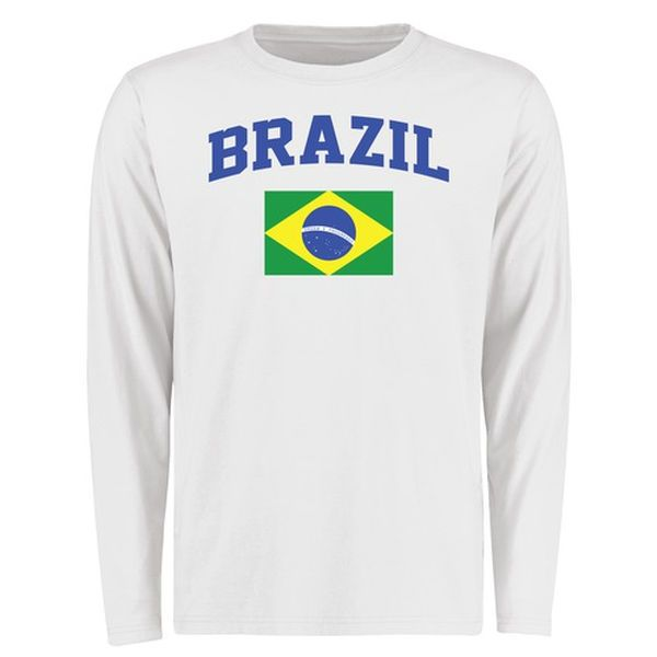 Brazil Flag Long Sleeve T-Shirt - White - $27.99