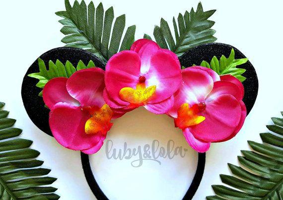 Tropical Minnie Mouse Ears Hawaiian Flower Crown Headband Festival Fashion Headband Lilo and Stitch Theme Minnie Ears