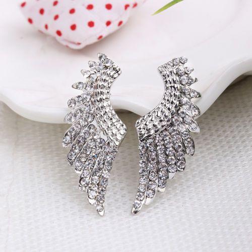 2pcs / 1 Pair Angel Wings Earrings Set Boho Rhinestones Stud Post Silver Tone #Unbranded #Stud