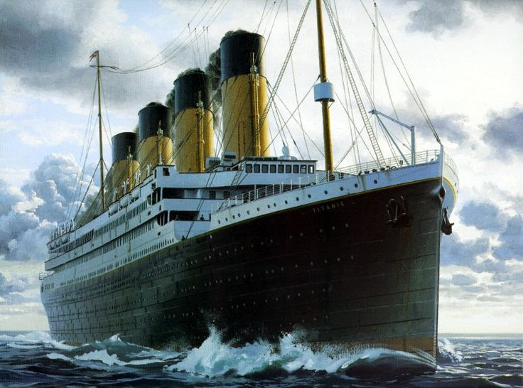 This portrait by Ken Marschall shows Titanic at sea.
