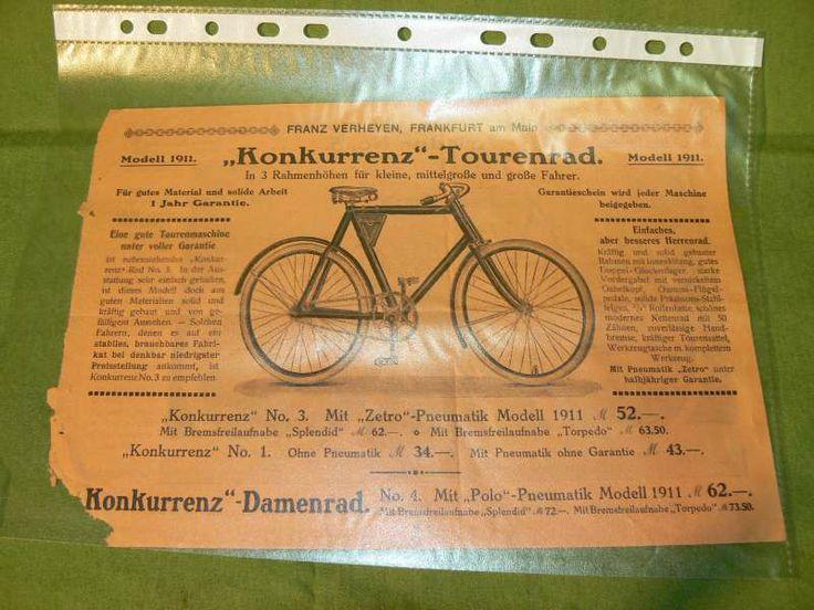 Altes Fahrrad Prospekt 1911 Franz Verheyen Frankfurt   eBay