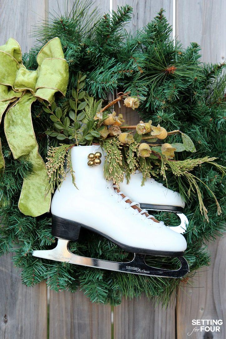 DIY Ice Skate Wreath Decor Quick