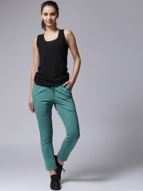 YWC Women Green Solid Regular Fit Flat Front Trousers #YWC #green #solid