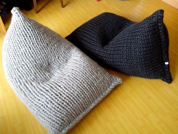 Chunky wool grey Knit bean bag / Kids' bean bag chair by GieMarGa