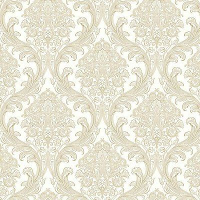 wallpaper sample dramatic damask in iridescent silver gold