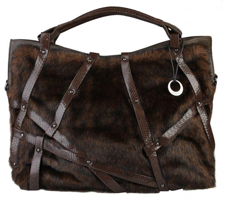 Dámská velká kabelka Segue, s kožešinkou - hnědá | obujsi.cz - dámská, pánská, dětská obuv a boty online, kabelky, módní doplňky