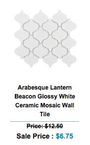 gloss or polished finished arabesque polished porcelain mosaic tile fixed to a mesh mosaic